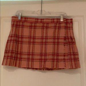 Pleated wrap mini skirt
